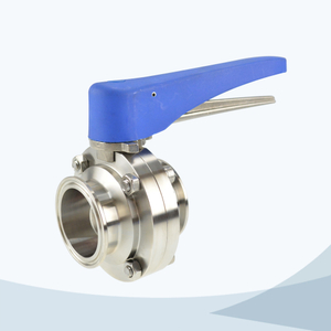 stainless steel hygienic plastic handle clamped gripper butterfly valve