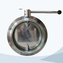 stainless steel food processing big size pull handle welded butterfly valve