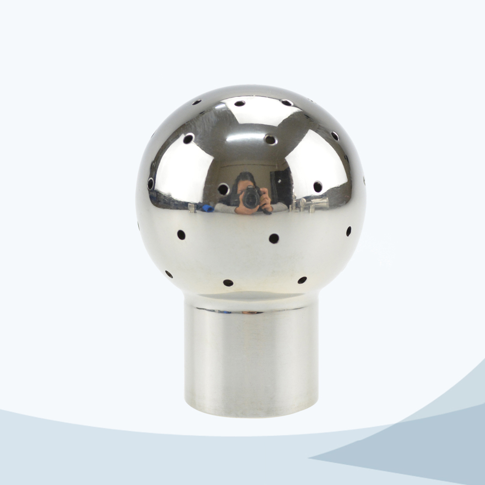 Sanitary welded connection fixed cleaning ball