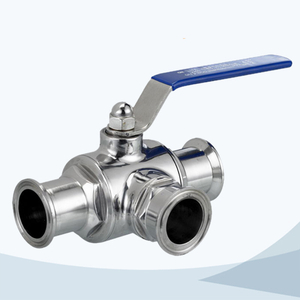 stainless steel sanitary grade clamped manual type 3 way ball valve