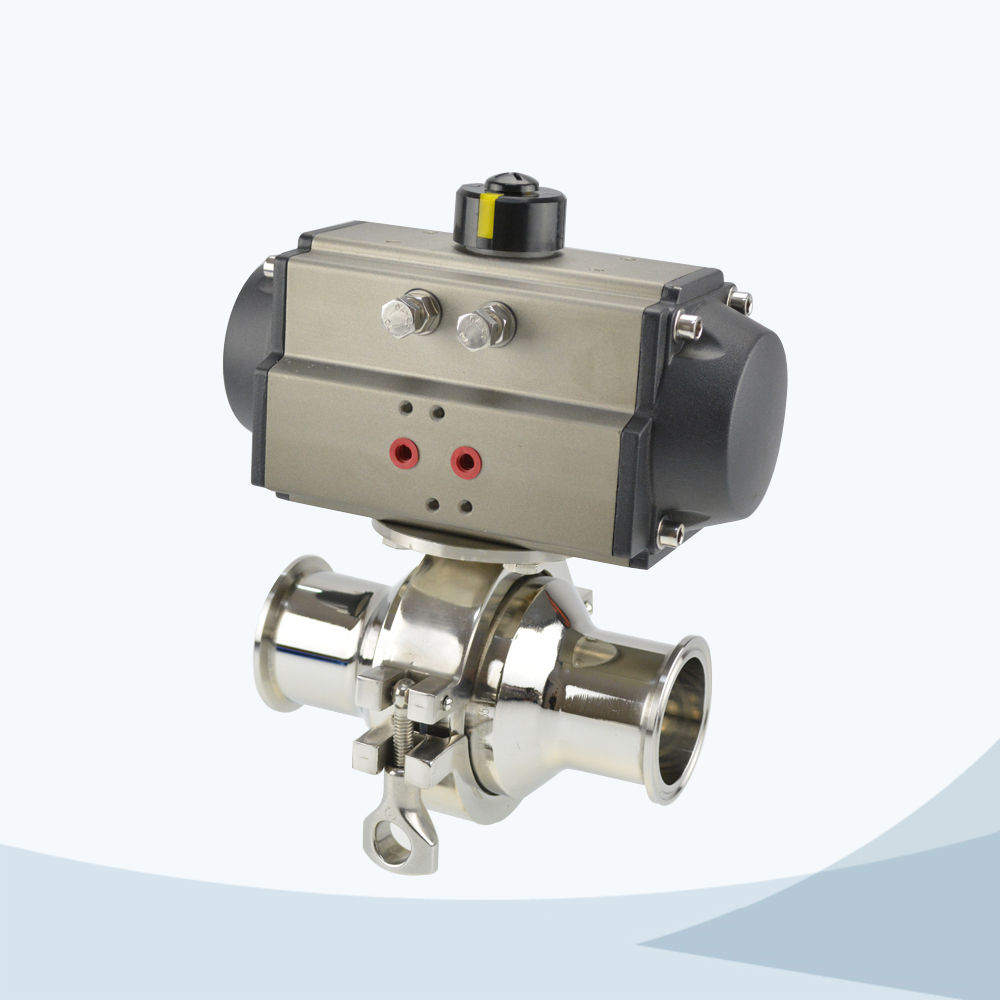 stainless steel food grade pneumatic tri-clamped non retention ball valve