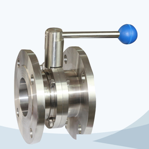 stainless steel sanitary grade round handle flanged butterfly valve