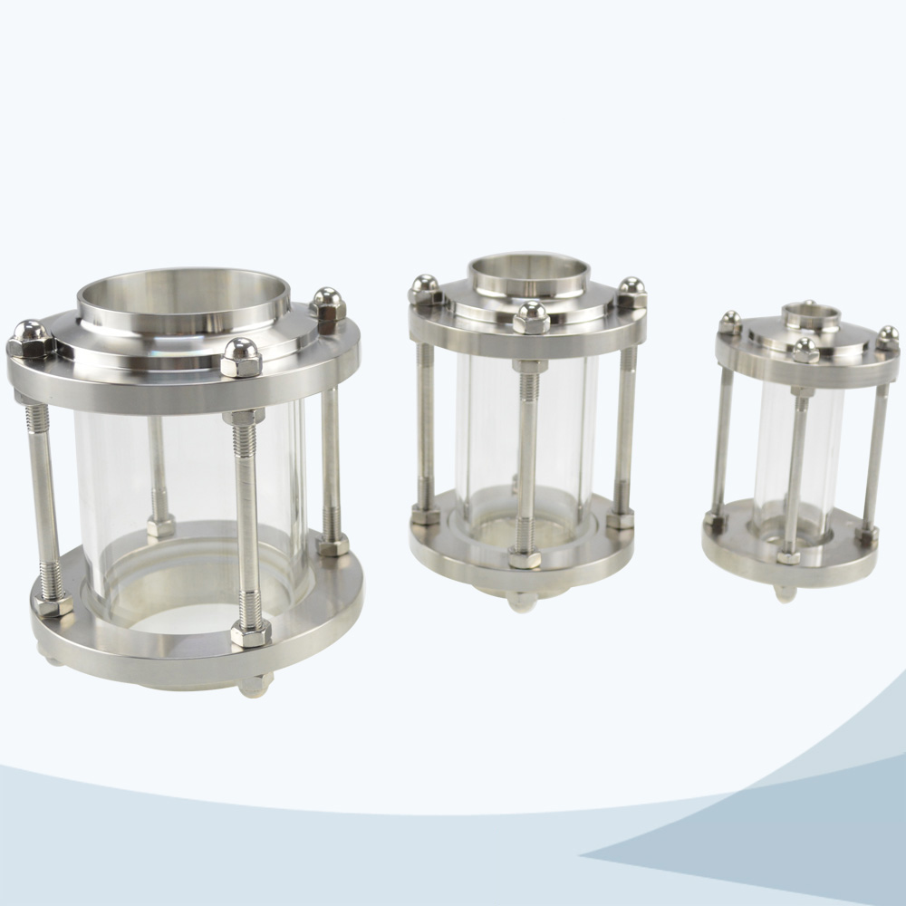 Sanitary tubular welded threaded sight view glass