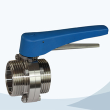 stainless steel sanitary plastic handle male-male threading butterfly valve