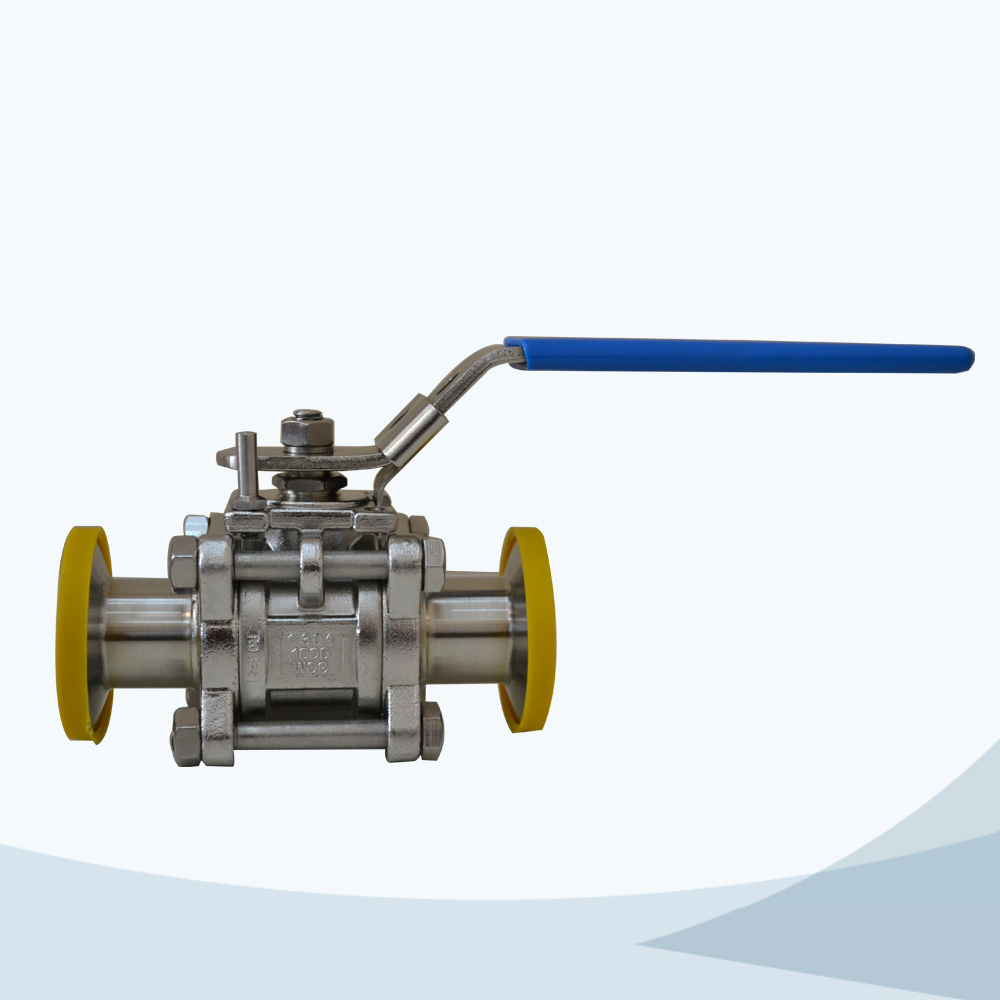 stainless steel sanitary grade pneumatic threaded 3 piece ball valve