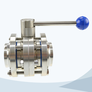 stainless steel food equipment flange end round handle butterfly valve