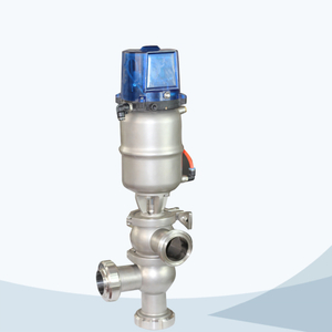 stainless steel food processing pneumatic flow change over valve with control cap